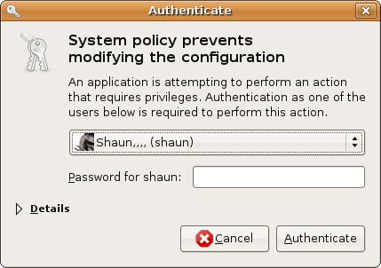 A very generic polkit authentication agent used by Ubuntu, asking to authenticate as one among authorised users (https://en.wikipedia.org/wiki/Comparison_of_privilege_authorization_features)